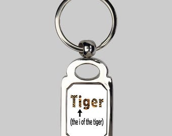 Eye of the tiger keyring, puns, rocky keychain, sarcasm, you gan do it, funny keychain, silver keychain, tiger keychain, tiger silly gifts