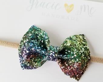 Snow Cone Glitter Bow Multi Color Glitter Bow Nylon Headband Hair Clip Baby Hair Bow Summer Bow