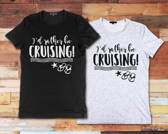 I'd Rather Be Cruising Custom Novelty Unisex Adult T-Shirt Vinyl Funny Tee Fun Gift Idea Cute TShirt Shirt Cruise Vacation Ship Flip Flops
