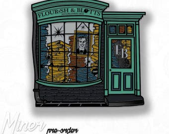 Harry Potter Flourish & and Blotts enamel lapel PIN / PINSTREET Diagon Alley Book Shop Hogwarts / #Miner49ers by BUNCEandBEAN /ships in July