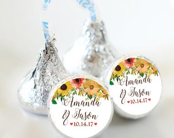108 Fall Bridal Shower Hershey Kiss Stickers  - Bridal Shower Kiss Labels - Fall Flowers Kiss Labels - Fall Wedding Decor - Fall Wedding
