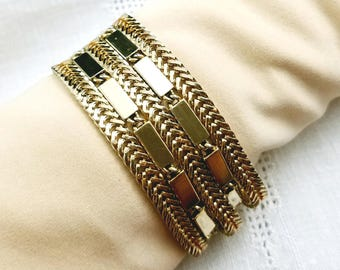 Monet Multi Strand Bracelet Gold Tone Bracelet Vintage Monet Gold Tone Collection
