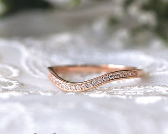 0.25 ct.tw Curve Wedding Ring-Brilliant Cut Micro Pave-Half Eternity Ring-Stackable Band Ring-Rose Gold Plated-Sterling Silver [7254RGH]