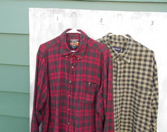Vintage Flannel Tall FREE SHIPPING XLT and Extra Large 2 Shirts Pick One Cotton Flannel Shirts Red or Neutral Vintage Flannel Shirts 2 Pick