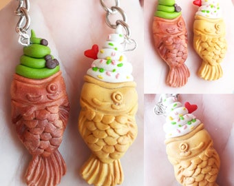 Taiyaki Keychain Japanese food kawaii Breakfast Friendship necklaces Couple BFF best friends Valentine's day