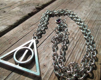 Harry Potter Silver Deathly Hallows Death Eaters Necklace Pendant