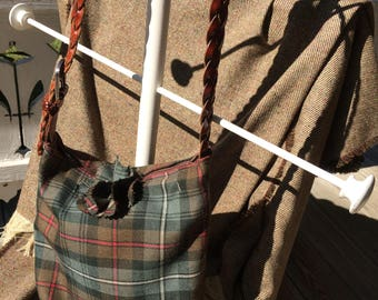 Brown green black red white Wool Tartan Medium Sized Bag