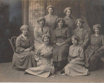 FREE POST - Old Postcard -Group of Edwardian Women Servants - Real Photo Postcard 1910s  - Vintage Postcard - Unused