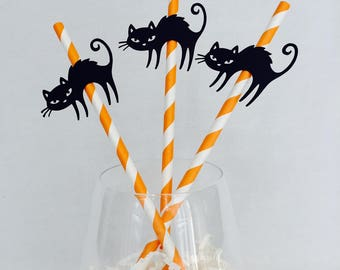 12 Black Cat Halloween Straws - Halloween Party - Happy Halloween - Party - Black - Orange - Striped Straws - Scary Party Decorations