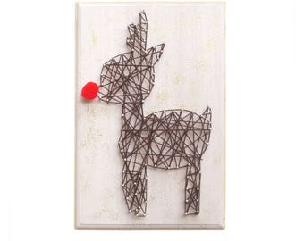 DIY Kit Rudolph, Christmas decor, Kid's craft, String art kit, craft kit, Christmas DIY