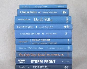 Book Bundle in Bright Blue, Decorative Book Set, Wedding Books