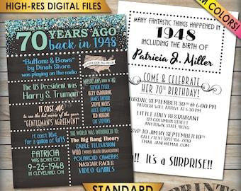 """70th Birthday Invitation, 1948 Invite, Born in 1948 Flashback 70 Years Ago, 70th Invite, PRINTABLE 70th Bday 5x7"""" Chalkboard Style Invite"""