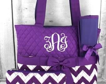Chevron in Purple Diaper Bag