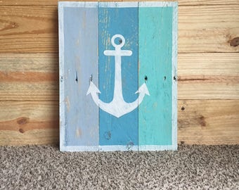 Reclaimed Wood Anchor Sign in Coastal Blues