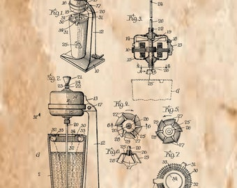 Food and Beverage Mixer Patent#2008106 dated July 16, 1935.