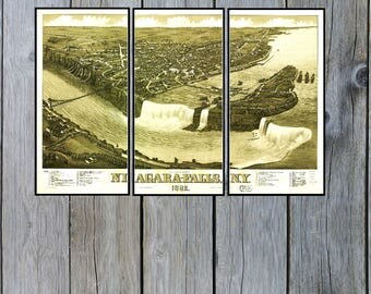 Niagra Falls Panoramic map in Triptych. Dated 1882. This print is a wonderful wall decoration for Den, Office, Man Cave or any wall.