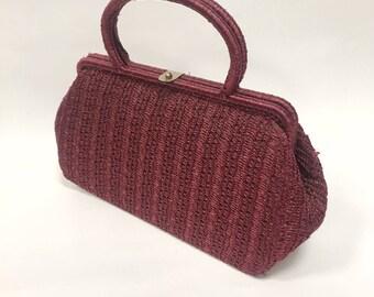 Vintage Italian 1950s 1960s burgundy woven raffia handbag
