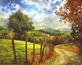 original watercolor painting of autumn landscape - rural landscape art - country road painting - colorful watercolor - original nature art