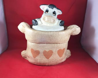 "Vintage Cow Cookie Jar - Country Cow Kitchen Storage - 10"" x 10"" - Cow in a Potato Sack Cookie Jar"
