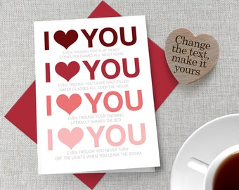 Personalized Valentine's Day Card / Customized Valentine's Day Card / Funny Valentine's Day Card / Personalized Anniversary Card / Love Card