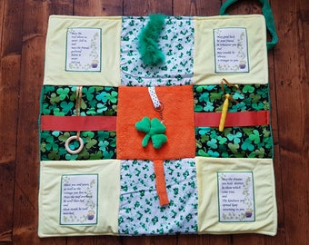 Fidget Blanket ~ 'Proud to be Irish' ~ Busy Blanket ~ Sensory Activity Lap Quilt for Dementia, Alzheimer's, Stroke and Brain Trauma ~