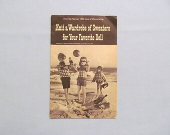 Knitting Pattern Book for Doll Sweaters, Such as Ken, Barbie and Little Sister, 1966