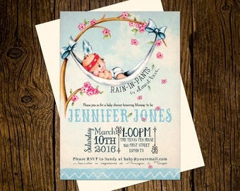Boho Tribal Baby Shower Invitations Personalized Custom Printed Set of 12 Party Invites Vintage Ecru Blue TeePee
