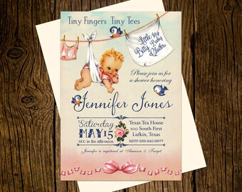Baby Cloths Baby Shower Invitations Personalized Custom Printed Set of 12 Party Invites Vintage Ecru Pink Blue Bluebirds