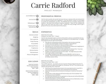 Professional Resume Template For Word U0026 Pages | Professional CV Template |  One, Two And  Resume With Photo Template