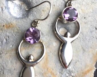 Amethyst & 925 Sterling Silver Goddess Earrings
