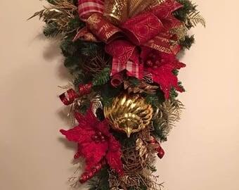 Christmas Swag, Holiday Swag, Burgundy & Gold Swag