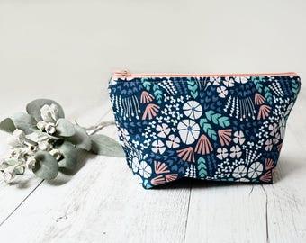 Floral makeup pouch. Navy. Cosmetic case. Zipper pouch. Pencil case. Wet bag.