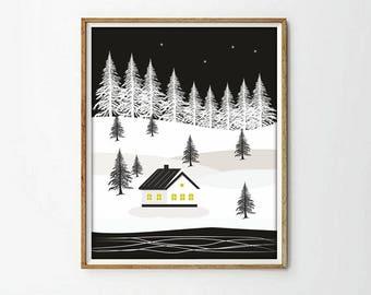 house print, white and blak, nordic print, nursery decor, nursery print, snow print, print illustration, living room art, wall art decor