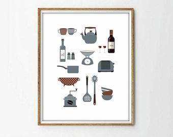 Kitchen Utensils Art retro kitchen art kitchen utensils kitchen prints puns