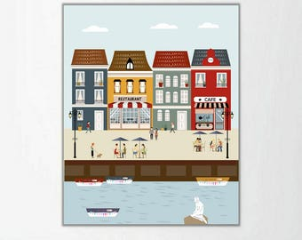 Copenhaguen, Copenhaguen print, city print, living room art, modernist art, art print, wall art, nursery decor, PRINTABLE ,4 SIZES INCLUDED
