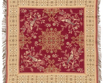 Red Chinoiserie Throw Blanket - Bird Design Tapestry Throw - 56x56 Belgian Tapestry Throw - Floral Throw Blanket - TT-753/70