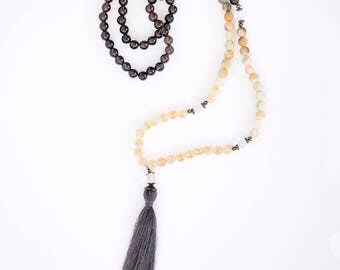 Out of the Dark and Into the Light! Smoky Quartz, Amazonite and Citrine Mala