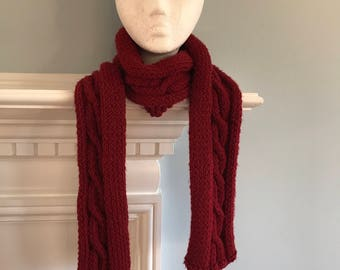 Red Cable Scarf