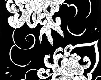 Chrysanthemums A3 print
