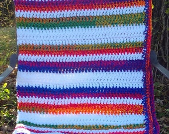 Rainbow Blanket LGBTQ Chunky Throw Blanket Soft Crochet Wheelchair Blanket Lapghan White, Yellow, Orange, Red, Purple, Green, Handmade