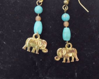 elephant and turquoise beads earrings