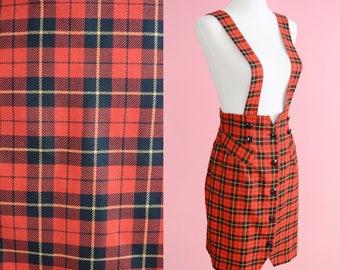 90s Red Plaid Jumper Dress // Vintage 1990s, Tartan print, Clueless Costume, Women Size Small