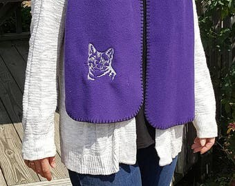 Tabby Cat Embroidered Knit Scarf