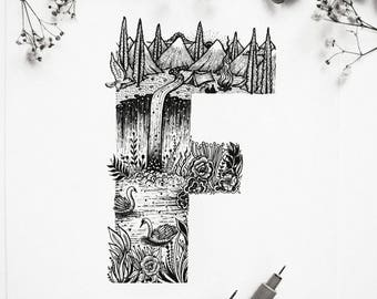 Letter ''F'' A4 Vertical size Print, printed on White 250g/m paper. Camping, Scenery, Mountains, River, Swans. Designed by Menisart