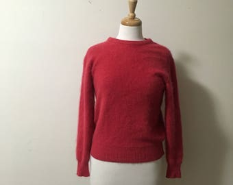 Vtg cashmere apple red pullover sweater