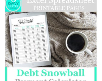 Debt snowball,loan payoff, excel spreadsheet,  debt planner, debt budget planner, excel budget, debt tracker, financial planner, credit card