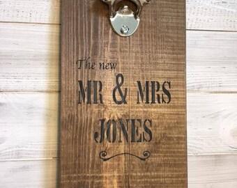 Personalised Mr & Mrs Bottle Opener Sign on Rustic Wood - Wedding gift