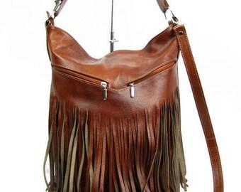 Bucket bag  Crossbody leather bag Leather fringe bag  Handmade  Handbag  Brown bag Cognac Fringe Bag