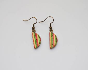 Watermelon in recycled skateboard Stud Earrings