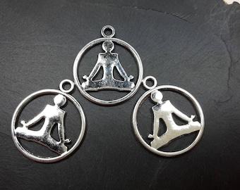Pendants zen meditation, spirituality, 23 x 20 mm silver metal character charms